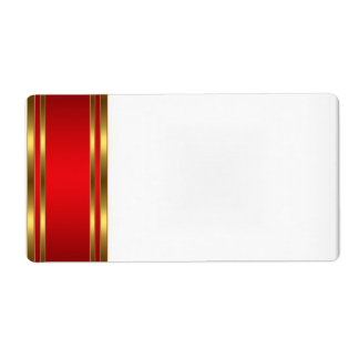 Party Name Tag Label gold red Shipping Label