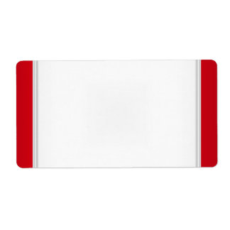 Party Name Tag Label Red White Shipping Label