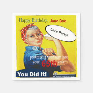 Party Napkins Rosie the Riveter Aging Protester Paper Napkins