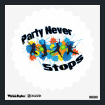"""Party Never Stops Wall Sticker<br><div class=""""desc"""">Once you start partying,  don&#39;t let it end! Keep dancing and rockin&#39; out because the party never stops! Featuring silhouettes of people dancing and jumping amongst colorful splats!</div>"""