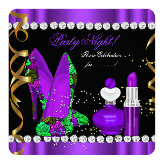 Party Night glitter Purple Gold Black Floral Shoes Card