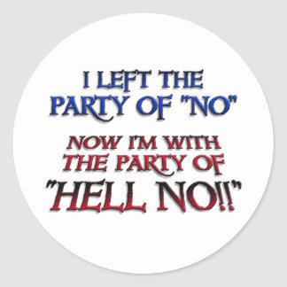 Party of Hell NO Round Sticker