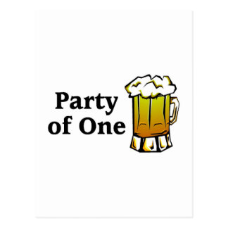 Party Of One Beer Postcard