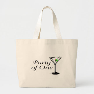 Party Of One Martini Large Tote Bag