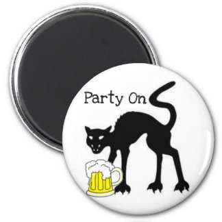 PARTY ON...HALLOWEEN BLACK CAT AND BEER PRINT 2 INCH ROUND MAGNET