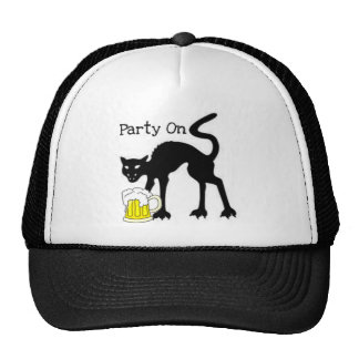 PARTY ON...HALLOWEEN BLACK CAT AND BEER PRINT TRUCKER HAT