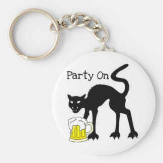 PARTY ON...HALLOWEEN BLACK CAT AND BEER PRINT KEYCHAIN