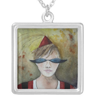 party on square pendant necklace