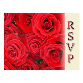 Party or wedding RSVP postcards - Red roses
