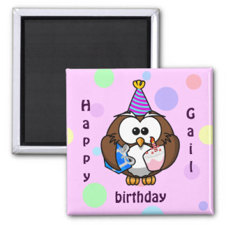 party owl 2 inch square magnet
