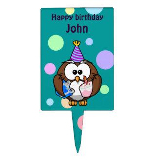 party owl cake picks