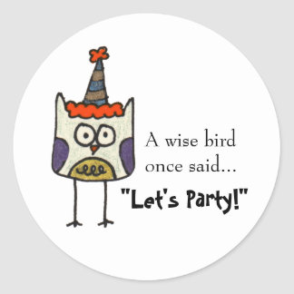 Party Owl Classic Round Sticker