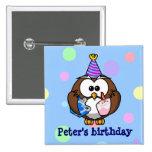 party owl pinback button