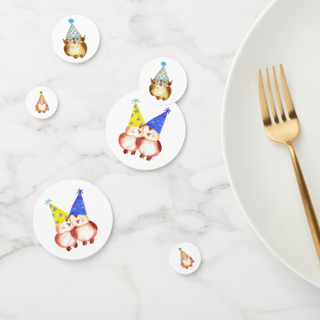 Party Owls With Birthday Hats Confetti