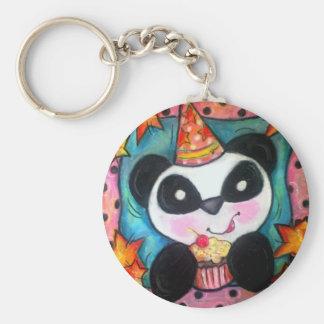 Party Panda Basic Round Button Keychain