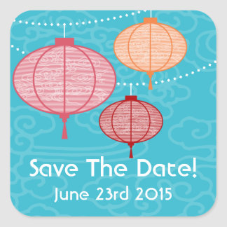 Party Paper Lanterns Save The Date Sticker