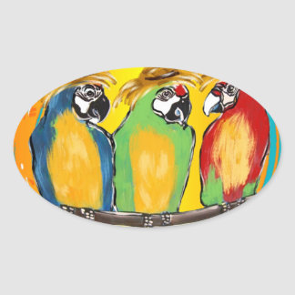 PARTY PARROTS OVAL STICKER