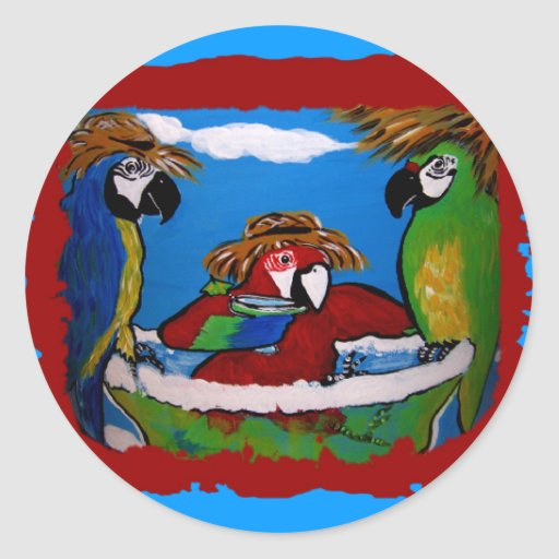 Party Parrots Round Sticker