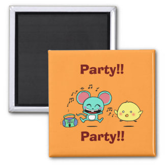Party, Party! 2 Inch Square Magnet