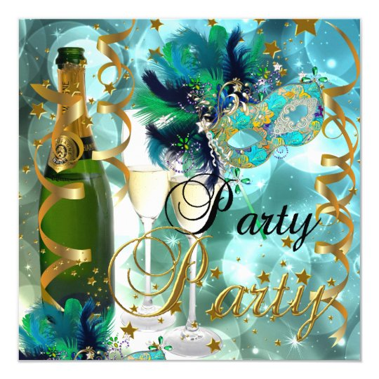 Party Party Mask Champagne Blue Gold Masquerade Card