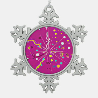 Party Party, pink Snowflake Pewter Christmas Ornament