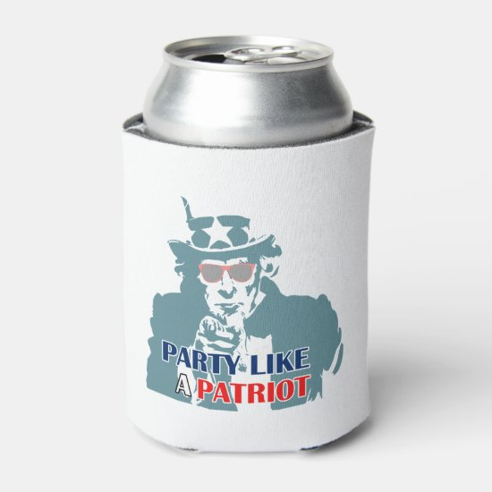 Party Patriot July 4th Beverage Can Cooler