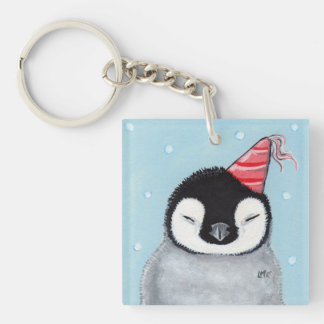 Party Penguin Chick in Snow Keychain