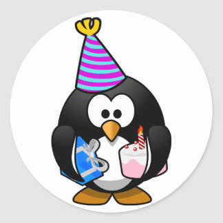 Party Penguin Classic Round Sticker