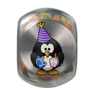 Party Penguin Glass Candy Jar