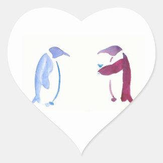Party Penguins Heart Sticker