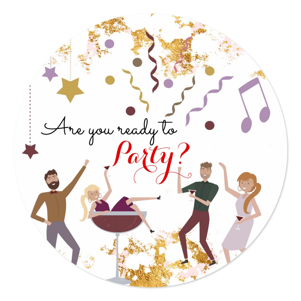 Party People Fun New Year Invitation
