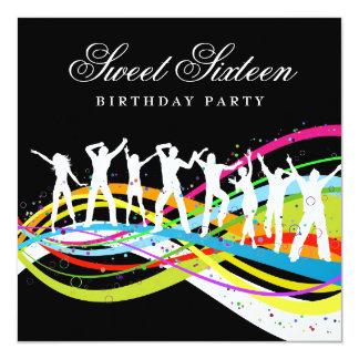 Party People Sweet Sixteenth Birthday Invitation 13 Cm X 13 Cm Square Invitation Card