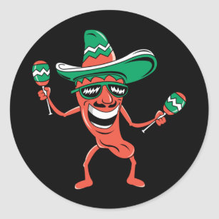 d60846a6412ab Party Pepper in Sombrero with Maracas Classic Round Sticker
