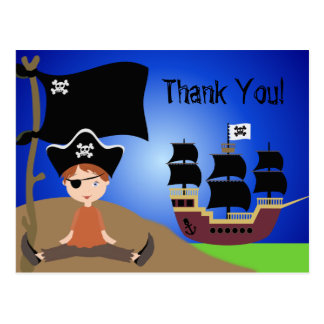 Party Pirates Kids Pirate Birthday Thank You Postcard