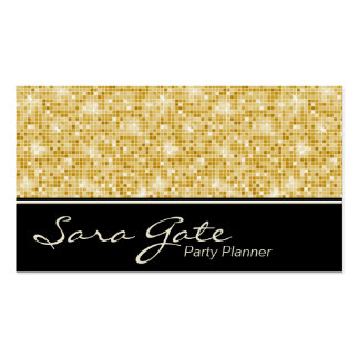 Party Planner Business Card - Classy Gold Glitter