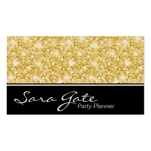 Party planner business card classy gold glitter zazzle for Party planner business cards