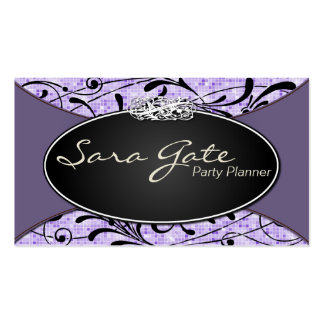 Party Planner Business Card Classy Purple Glitter