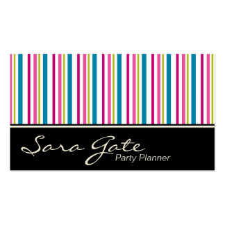 Party Planner Business Card - Colorful Stripes