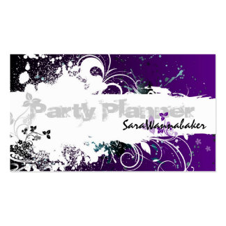 Party Planner Business Card Grunge Splatter Purple