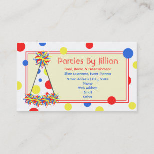Party Planner Red Yellow Blue Polka Dot Hat Business Card