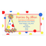 Party Planner Red Yellow Blue Polka Dot Party Hat Double-Sided Standard Business Cards (Pack Of 100)