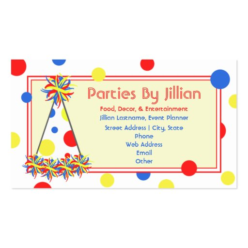 Party planner red yellow blue polka dot party hat double for Party business card ideas