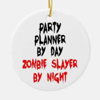 Party Planner Zombie Slayer Double-Sided Ceramic Round Christmas Ornament