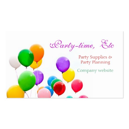 Party planners business cards template zazzle for Party planner business cards