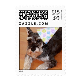 Party Pooch Miniature Schnauzer Postage Stamp