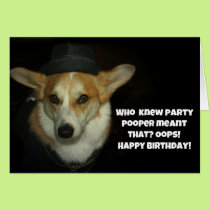 Party pooper corgi card