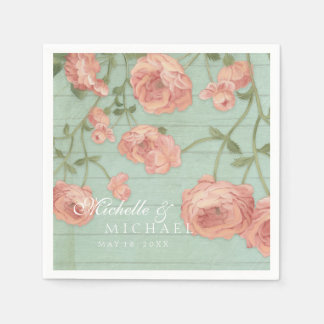 Party Pretty Blush Pink Peach Roses Wood Fence Napkin