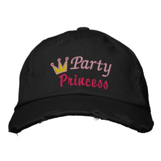 Party Princess Crown Queen Pink Yellow Cute Design Embroidered Baseball Hat