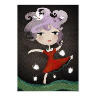 "Party princess tutu red flowers invitation 5"" x 7"" invitation card"