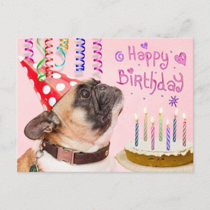 Marvelous Party Pug And Birthday Cake Invitation Postcard Zazzle Com Funny Birthday Cards Online Bapapcheapnameinfo